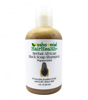 4 oz Hair Health+ African Black Soap Hair Growth Shampoo with 26 Hair Growth Herbs & Oils - Grow Hair Faster