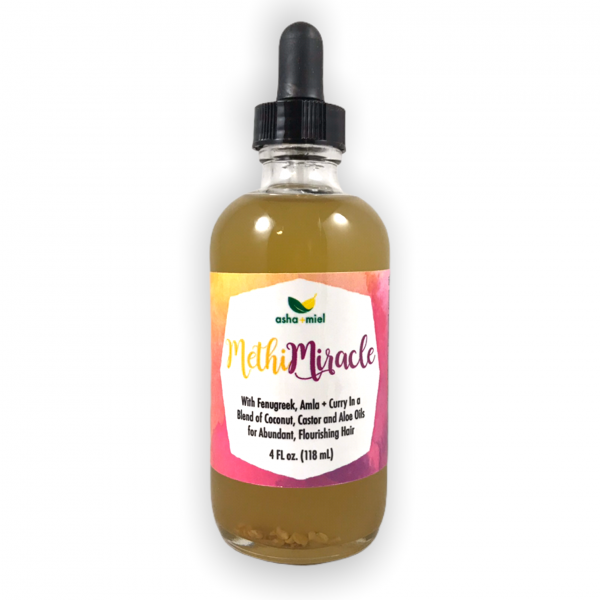 Methi Miracle 4 ounce in glass dropper bottle on white background
