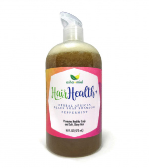 16 oz Hair Health+ African Black Soap Shampoo, Peppermint