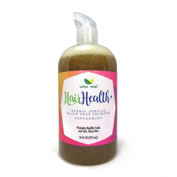 16 oz Hair Health+ African Black Soap Shampoo, Peppermint