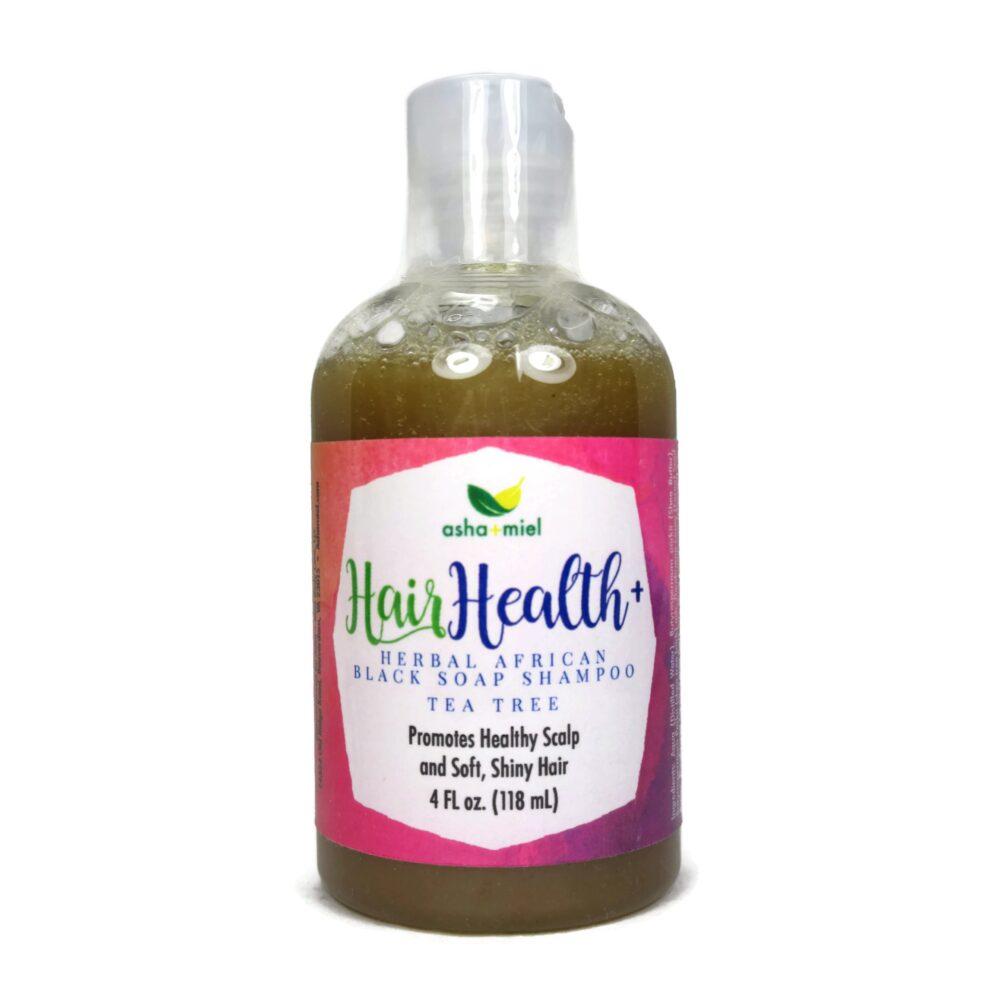 4 oz Hair Health+ African Black Soap Hair Shampoo, Tea Tree, 4 ounces