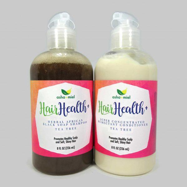 8 oz Hair Health+ Shampoo + Conditioner; African Black Soap Hair Growth Shampoo with 26 Hair Growth Herbs & Oils - Grow Hair Faster