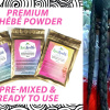 Chebe Powder, One packet each of 25 grams, 50 grams and 100 grams with the words Premium Chebe Powder; Pre-Mixed & Ready To Use along with photo of long, chebe coated, braided hair