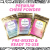 Chebe Powder, One packet each of 25 grams, 50 grams and 100 grams with the words Premium Chebe Powder; Pre-Mixed & Ready To Use