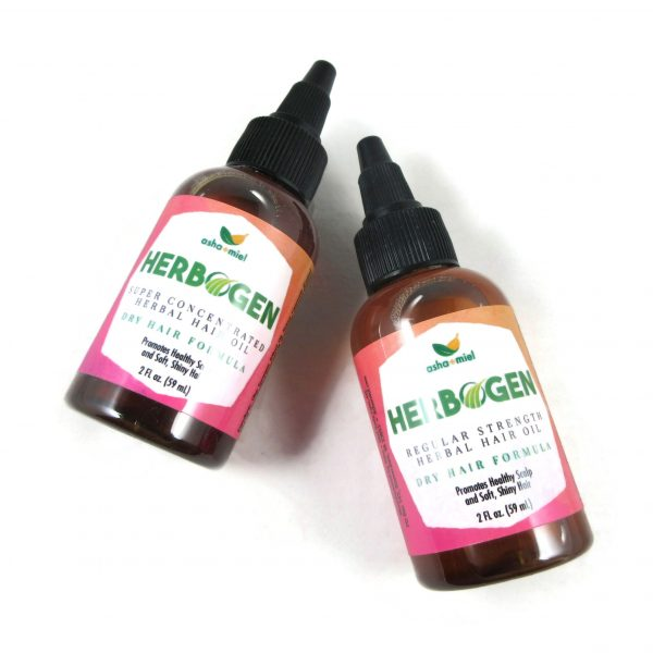 One Bottle Each of Regular and Super Concentrated Herbogen Herbal Hair Oil