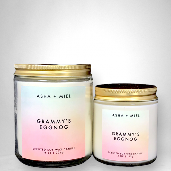 One 8 ounce and one 4 ounce Grammy's Eggnog Candle in glass jars with gold tops