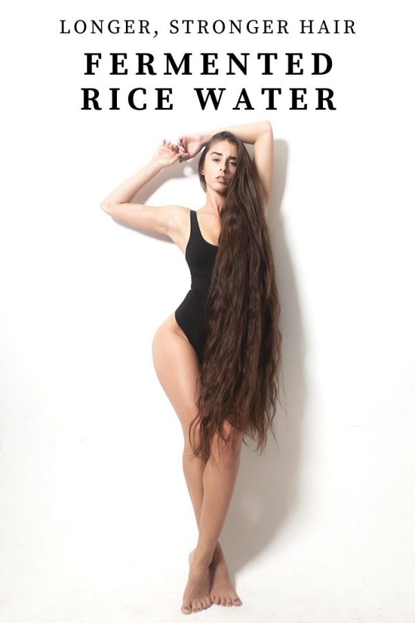 Model with Long, Wavy hair and the words Longer, Stronger Hair Fermented Rice Water