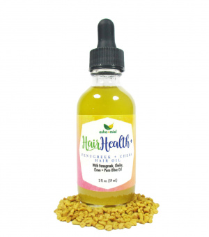 2 ounce dropper bottle of Fenugreek and Chebe Hair Oil