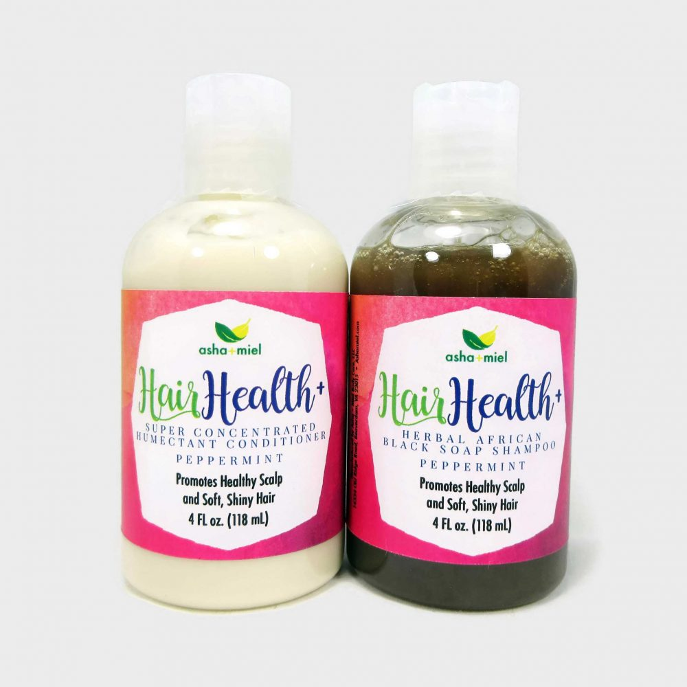 4 oz Hair Health+ Shampoo + Conditioner; African Black Soap Hair Growth Shampoo with 26 Hair Growth Herbs & Oils - Grow Hair Faster