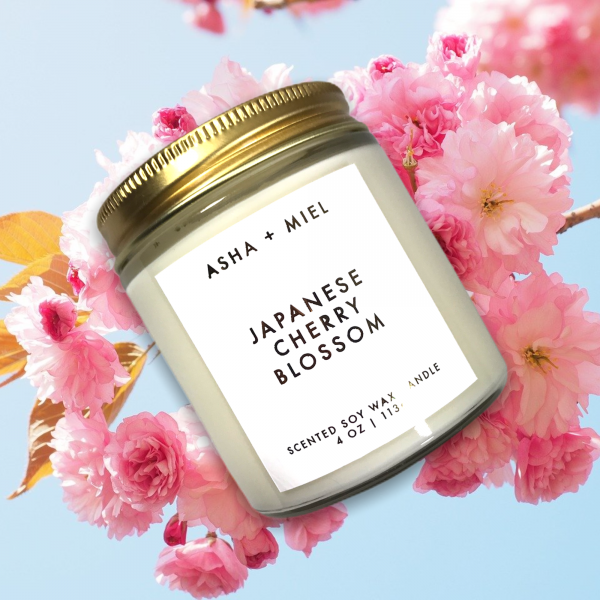 1 4 ounce Japanese Cherry Blossom Soy Jar Candle on Cherry Blossom Background