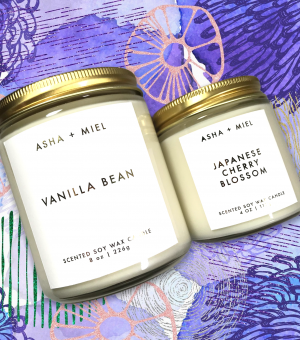 One 8 ounce Vanilla Bean soy jar candle, one 4 ounce Japanese Cherry Blossom jar candle