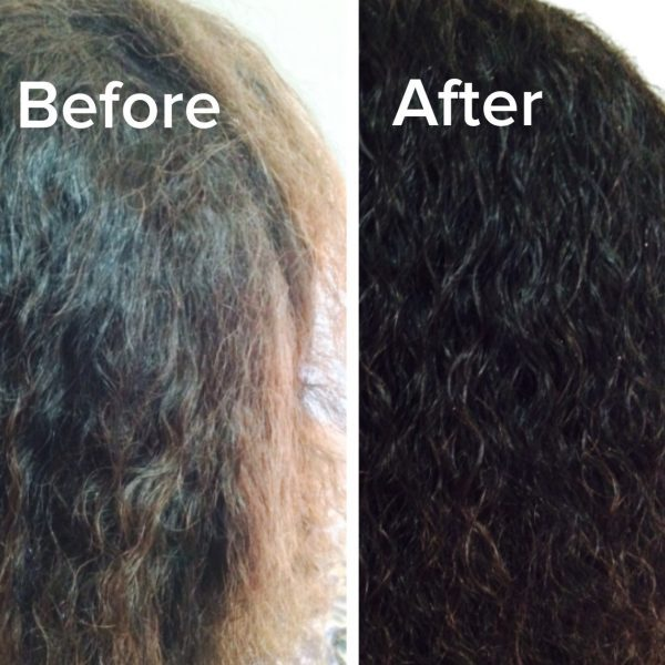 Photo of Hair Before and After Using Jamaican Black Castor Oil + Marshmallow Root 4-In-One Ultra Conditioner and Styling Cream & Detangler