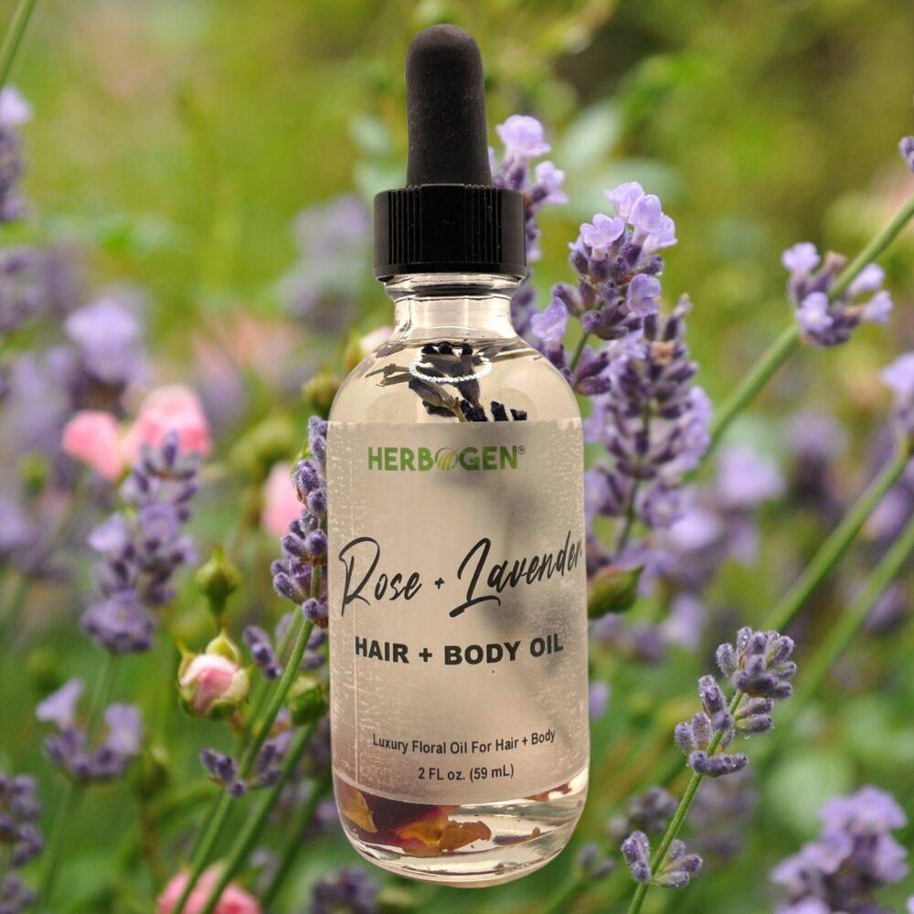 Rose + Lavender Hair + Body Oil, Rose Hair Oil, Lavender Hair Oil, Body Oil